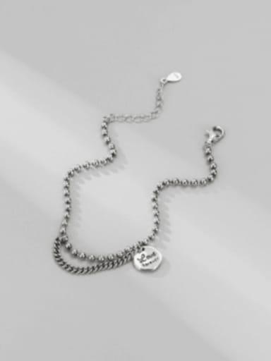 925 Sterling Silver Letter Vintage Beaded Bracelet