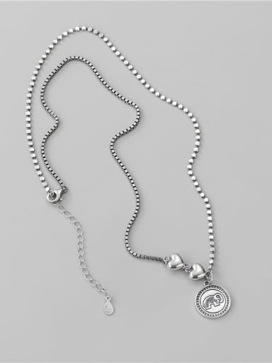 925 Sterling Silver Elephant Vintage Asymmetric chain  Necklace