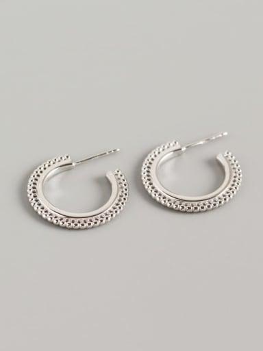 Platinum 925 Sterling Silver Geometric Trend Hook Earring
