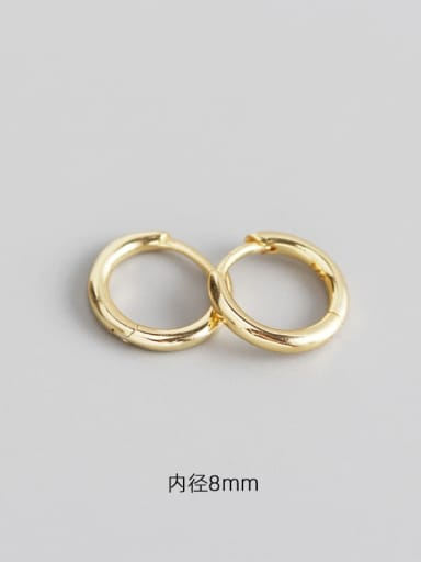 4#8mm gold 925 Sterling Silver Geometric Minimalist Huggie Earring