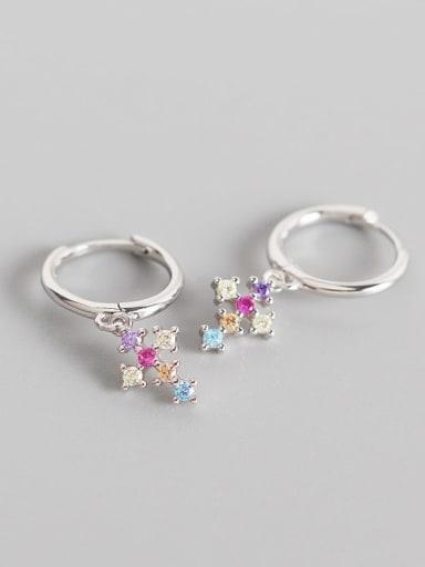 Platinum 925 Sterling Silver Cubic Zirconia Multi Color Cross Trend Huggie Earring