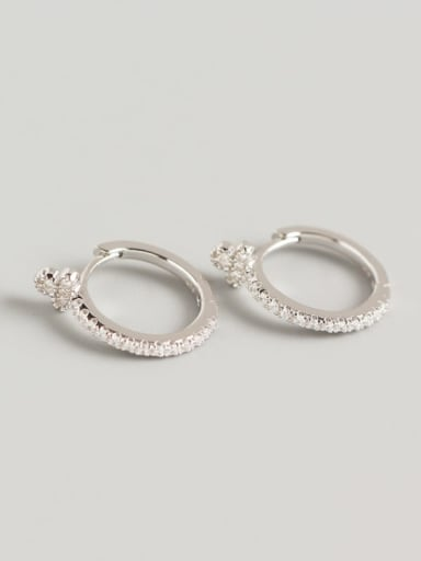 1#(white stone) white gold 925 Sterling Silver Cubic Zirconia Multi Color Geometric Trend Huggie Earring
