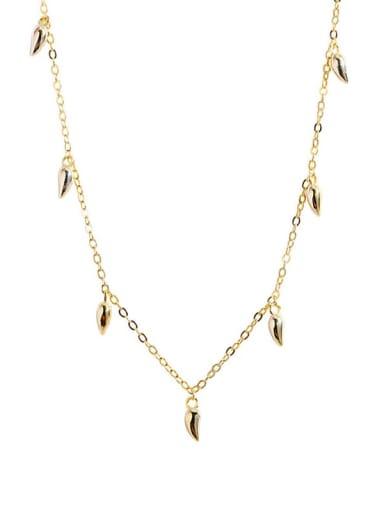 925 Sterling Silver Irregular  Minimalist Chili  Necklace