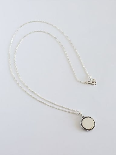 Yhn053 round 925 Sterling Silver Geometric Minimalist Necklace