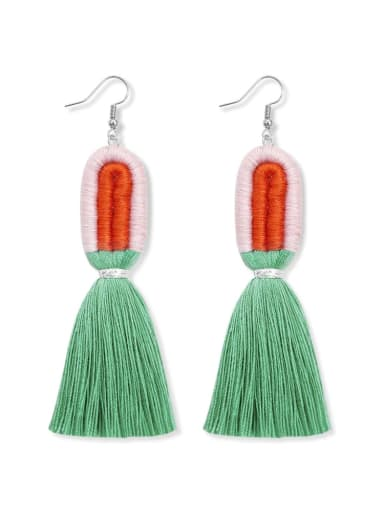 E68831 Alloy Cotton Rope  Tassel Artisan  Hand-Woven Drop Earring