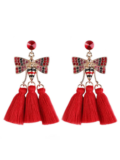 Red e68811 Alloy Cotton Rope Tassel Bohemia Hand-Woven Drop Earring