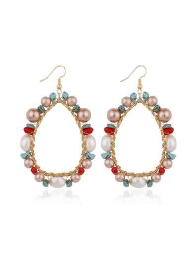Alloy Freshwater Pearl Round Bohemia Hand-woven  Drop Earring