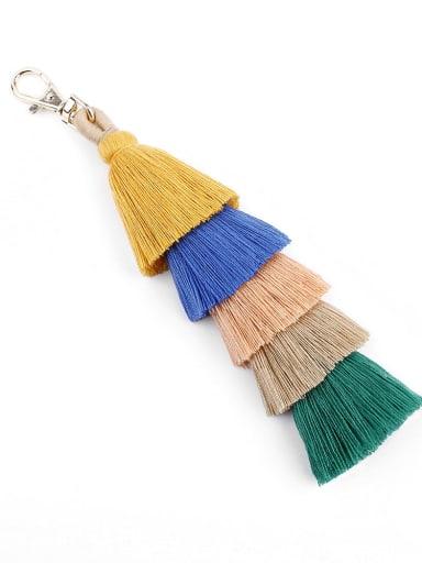 K68009 yellow color Alloy Cotton Rope  Tassel Artisan Hand-Woven Bag Pendant