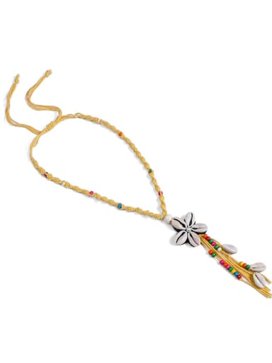 Yellow n70251 Pearl Cotton Tassel Hand-Woven  Flower Lariat Necklace