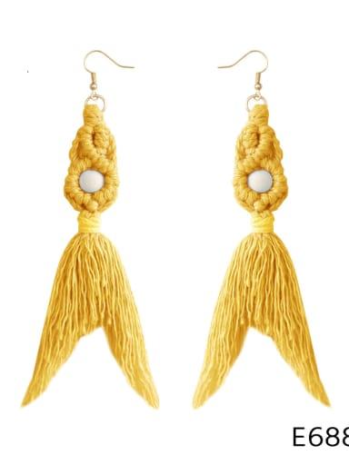E68843 yellow Alloy Cotton Rope Tassel Bohemia Hand-Woven Drop Earring