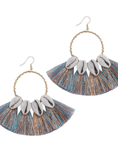 Blue e68580 Alloy Cotton Tassel Bohemia Hand-woven Drop Earring