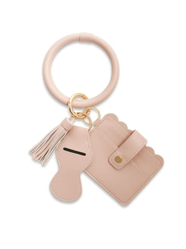 Alloy Leather Leopard Card package Hand Ring Key Chain