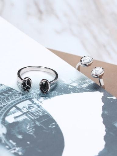 925 Sterling Silver White Round Minimalist Multistone Ring