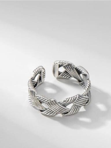 925 Sterling Silver Geometric Vintage Midi Ring