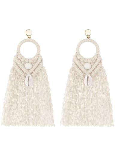 E68742 white Alloy Shell Cotton Tassel Bohemia  Hand-woven  Drop Earring
