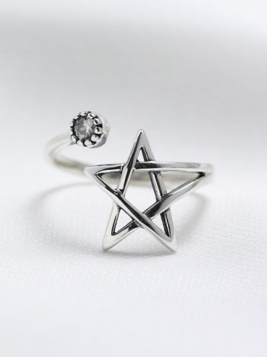 925 Sterling Silver Star Vintage Spoon Ring