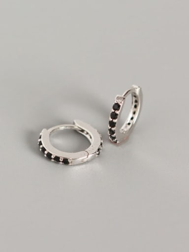 3#Platinum (black diamond) 925 Sterling Silver Cubic Zirconia White Geometric Dainty Huggie Earring