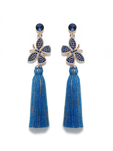 Blue e68807 Alloy Rhinestone Cotton Rope  Tassel Bohemia Hand-Woven Drop Earring