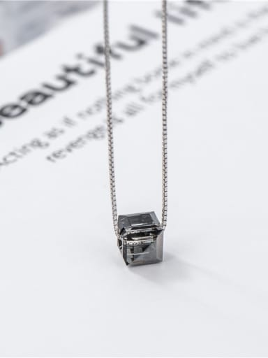 Cube crystal (small) 925 Sterling Silver Crystal Geometric Minimalist Necklace