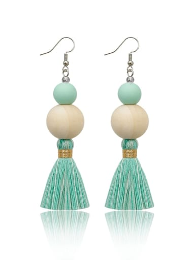 Alloy Wooden beads  Cotton Rope  Tassel Bohemia Hand-Woven Drop Earring