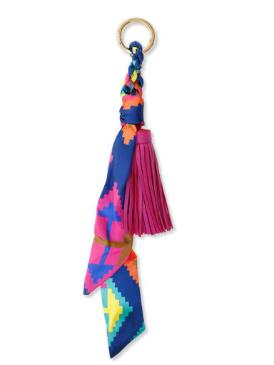 K68033 Alloy Silk Leather Tassel Artisan Hand-Woven Bag Pendant