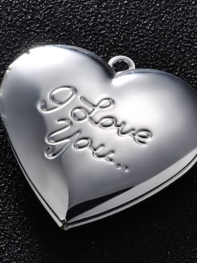 White K Copper Message Heart Charm Height : 28.7mm , Width: 28.7 mm