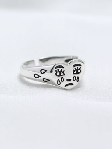 925 Sterling Silver Heart Funny Trend Band Ring