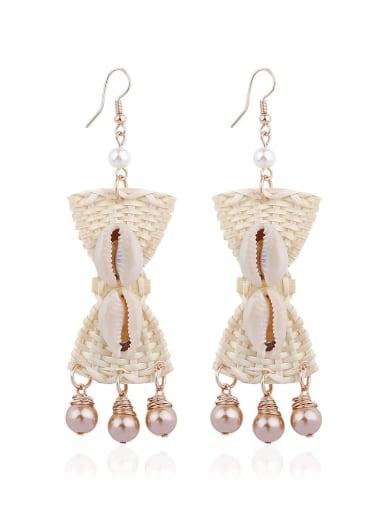 Hand-woven alloy shell bow bohemian Hand-woven drop earrings