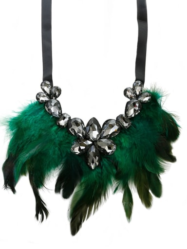 Green c68805 Glass Stone Feather Hand-Woven  Statement Bib Necklace