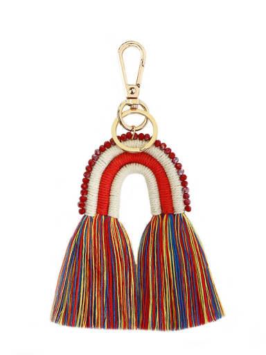 Alloy Bead Cotton Rope Rainbow Hand-Woven Bohemia Bag Pendant