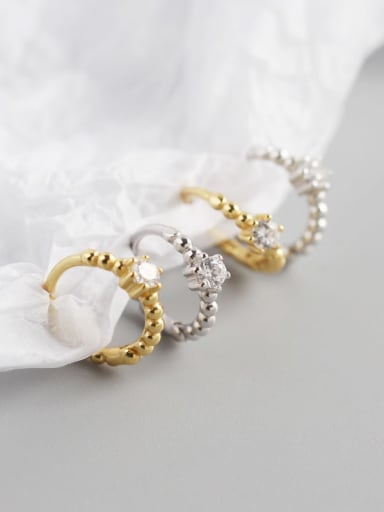 925 Sterling Silver Cubic Zirconia White Geometric Classic Huggie Earring