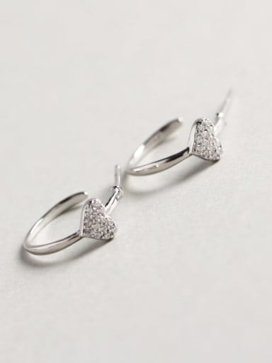 925 Sterling Silver Rhinestone White Heart Dainty Cluster Earring