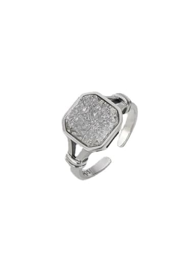 925 Sterling Silver Cubic Zirconia Geometric Vintage Band Ring