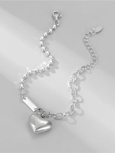 925 Sterling Silver Heart Minimalist Asymmetric chain  Link Bracelet
