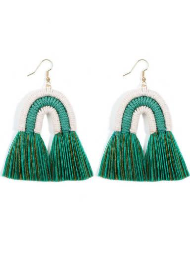 Green e68821 Alloy Cotton Rope Tassel Bohemia Hand-Woven Drop Earring