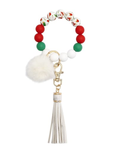 White k68315 Alloy Multi Color  Silicone Leather  Tassel fur ball christmas tree Key Chain