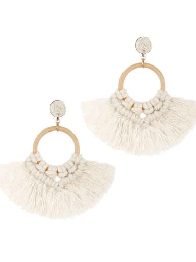 E68743 Alloy Cotton Tassel Bohemia Hand-Woven Stud Earring