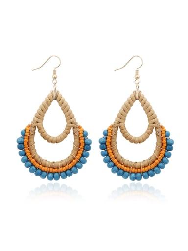 Blue Bead Multi Color Water Drop Bohemia Hand-woven Drop Earring
