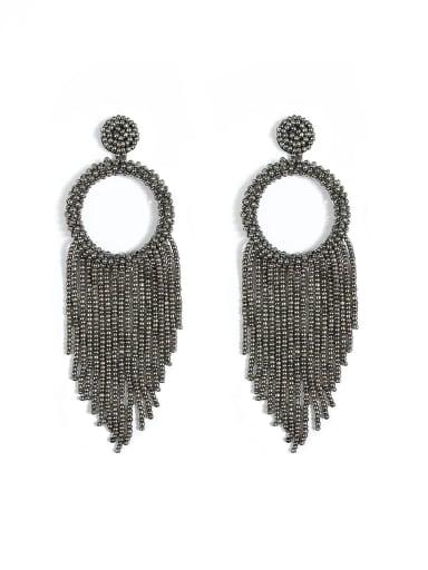 Dark grey e68796 Alloy Bead Tassel Bohemia Hand-Woven  Drop Earring