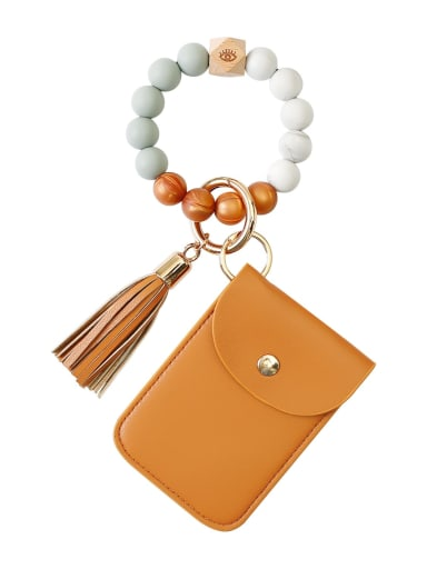 Brown k68326 Alloy Silicone Beads Leather Coin Purse Bracelet /Key Chain