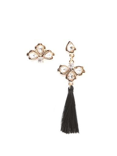 E68265 black Alloy Tassel Asymmetry Bohemia Hand-Woven Drop Earring