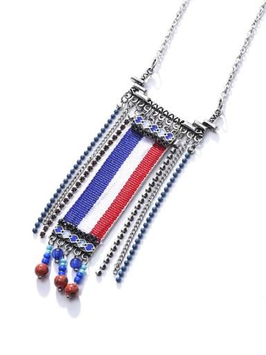 silver Alloy Rhinestone Beads  Fabric Geometric Ethnic Hand-Woven Long Strand Necklace