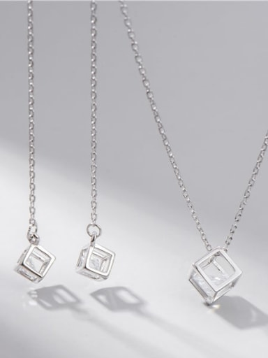 925 Sterling Silver Cubic Zirconia Minimalist Square Earring and Necklace Set