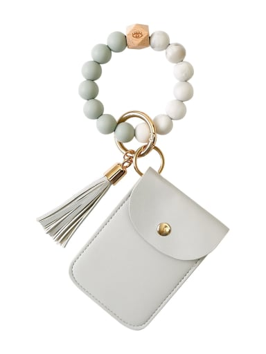 Grey k68326 Alloy Silicone Beads Leather Coin Purse Bracelet /Key Chain