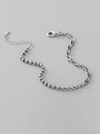 925 Sterling Silver Asymmetric Hollow Geometric chain Vintage Beaded Bracelet