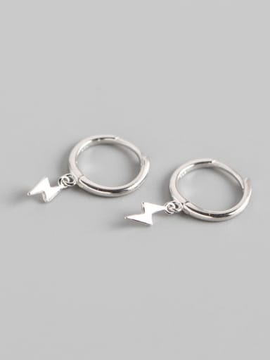 1#Platinum 925 Sterling Silver lightning Trend Huggie Earring