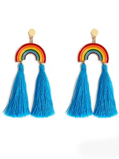Blue e68791 Alloy Cotton Rope Rainbow Bohemia Cotton Rope Drop Earring