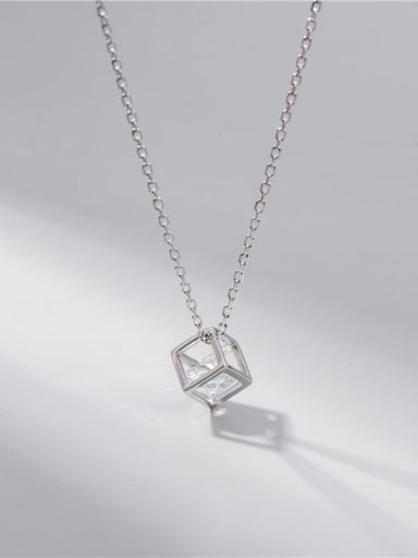 Single diamond cube Necklace 925 Sterling Silver Cubic Zirconia Minimalist Square Earring and Necklace Set