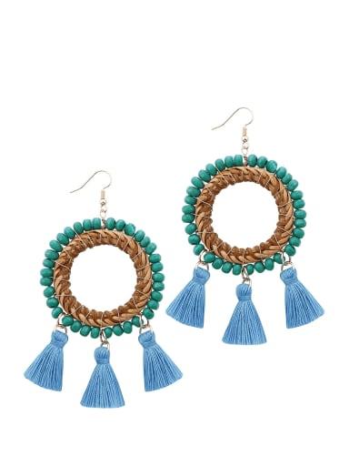 Blue Bead Multi Color Cotton Tassel Bohemia Hand-woven Drop Earring
