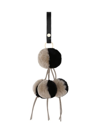 K68127 Alloy Leather Rabbit fur wrist Key Chain
